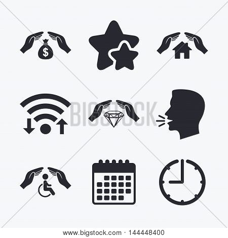 Hands insurance icons. Money bag savings insurance symbols. Disabled human help symbol. House property insurance sign. Wifi internet, favorite stars, calendar and clock. Talking head. Vector