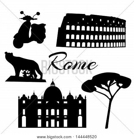 Rome flat icons. Colosseum tree wolf twins Vector