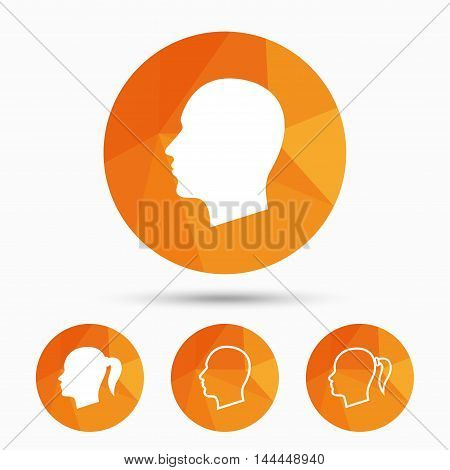 Head icons. Male and female human symbols. Woman with pigtail signs. Triangular low poly buttons with shadow. Vector