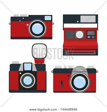 Retro colorful camera icons set. Modern flat design elements. Vintage isolated photo camera. Vector illustration.