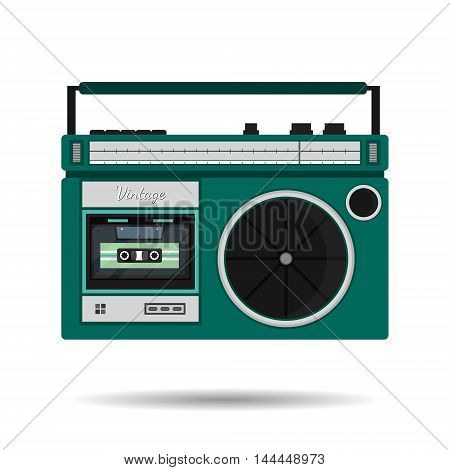 Retro colorful radio icon. Modern flat design elements. Vintage isolated vintage object. Vector illustration.
