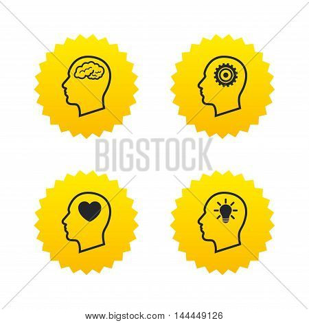 Head with brain and idea lamp bulb icons. Male human think symbols. Cogwheel gears signs. Love heart. Yellow stars labels with flat icons. Vector