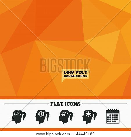 Triangular low poly orange background. Head with brain and idea lamp bulb icons. Female woman think symbols. Cogwheel gears signs. Calendar flat icon. Vector
