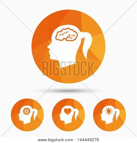Head with brain and idea lamp bulb icons. Female woman think symbols. Cogwheel gears signs. Love heart. Triangular low poly buttons with shadow. Vector