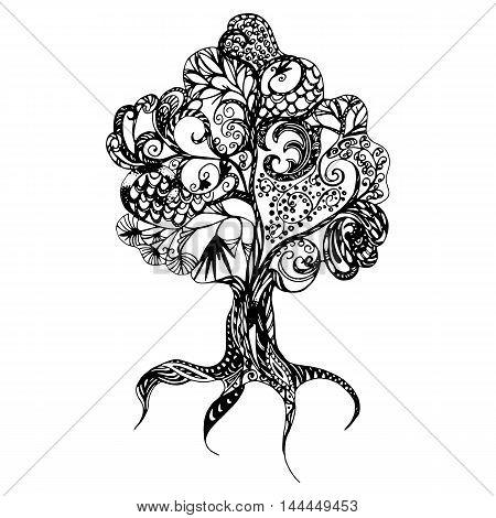 fantasy doodle tree hand drawn vector illustration