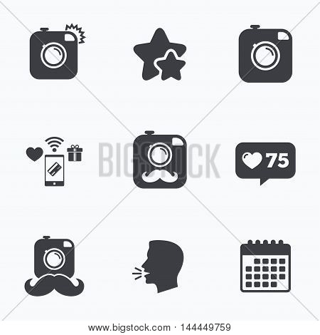 Hipster photo camera with mustache icons. Retro camera symbols. Flat talking head, calendar icons. Stars, like counter icons. Vector