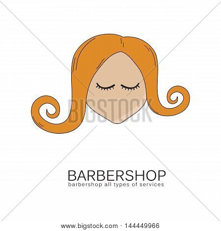 Logo for hairdressers and beauty salons. Symbol red-haired girl with curls