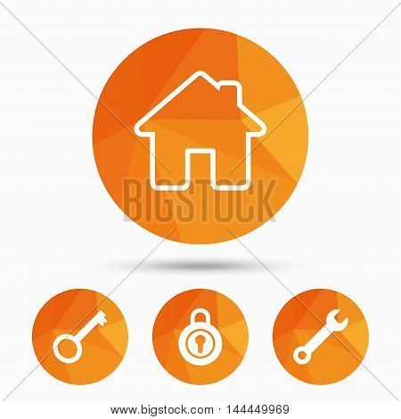 Home key icon. Wrench service tool symbol. Locker sign. Main page web navigation. Triangular low poly buttons with shadow. Vector