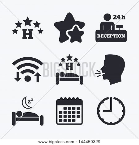 Five stars hotel icons. Travel rest place symbols. Human sleep in bed sign. Hotel 24 hours registration or reception. Wifi internet, favorite stars, calendar and clock. Talking head. Vector