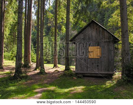 Small wooden house with shutters in a clearing in the woods near the river Carpathian
