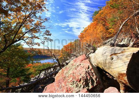 Autumn colors along hiking trail overlooking Devil's Lake,  Wisconsin