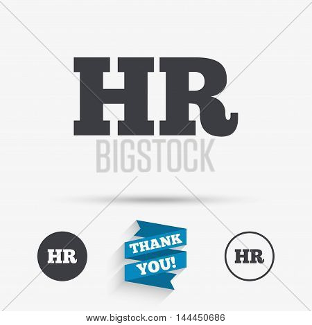 Human resources sign icon. HR symbol. Workforce of business organization. Flat icons. Buttons with icons. Thank you ribbon. Vector