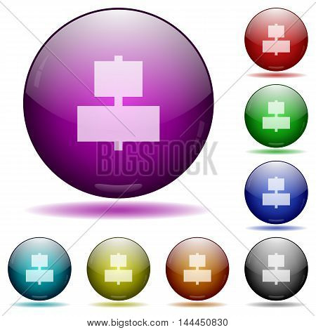 Set of color Align to center glass sphere buttons with shadows.