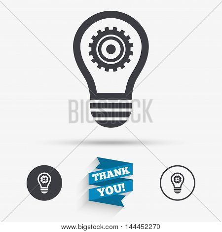 Light lamp sign icon. Bulb with gear symbol. Idea symbol. Flat icons. Buttons with icons. Thank you ribbon. Vector