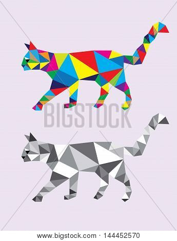 Cat Abstract Geometric, polygonal art vector design