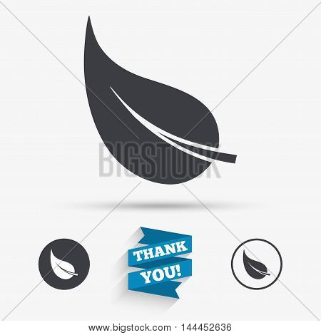 Leaf sign icon. Fresh natural product symbol. Flat icons. Buttons with icons. Thank you ribbon. Vector