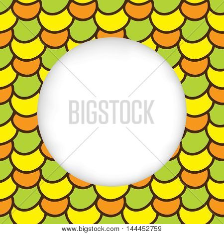 Greeting card background. Paper cut out, white shape with place for text. Frame seamless pattern. Summer hand drawn pattern. Bright and colorful abstract multicolored corn kernels. Summer pattern corn