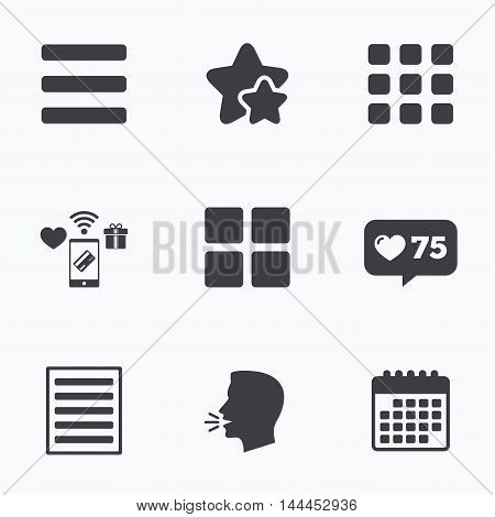 List menu icons. Content view options symbols. Thumbnails grid or Gallery view. Flat talking head, calendar icons. Stars, like counter icons. Vector