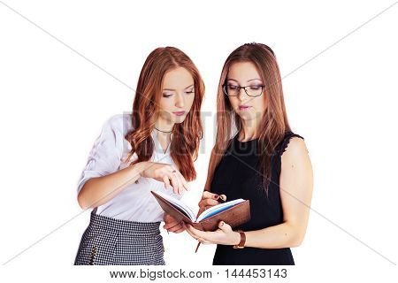 Two women looking at you on a white background