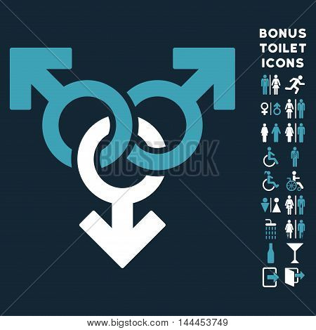 Group Gay Sex icon and bonus male and female restroom symbols. Vector illustration style is flat iconic bicolor symbols, blue and white colors, dark blue background.