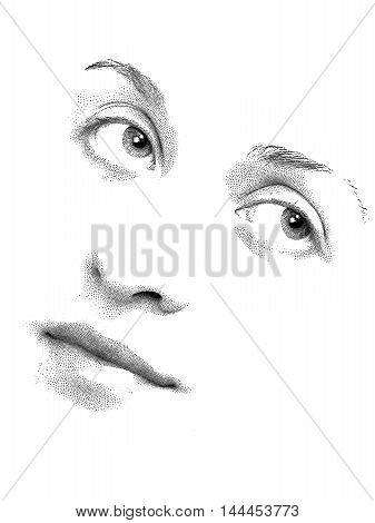 Features of young woman's face executed in stipple style.