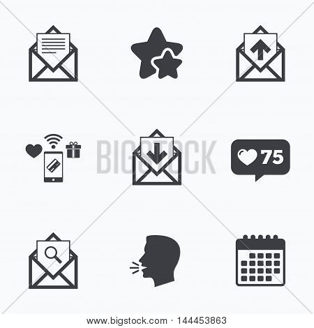 Mail envelope icons. Find message document symbol. Post office letter signs. Inbox and outbox message icons. Flat talking head, calendar icons. Stars, like counter icons. Vector