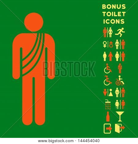 Buddhist Monk icon and bonus gentleman and woman toilet symbols. Vector illustration style is flat iconic bicolor symbols, orange and yellow colors, green background.