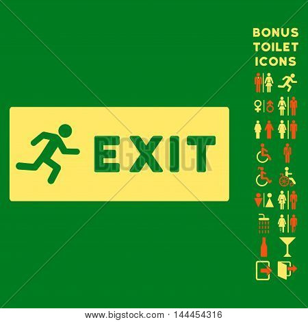 Emergency Exit icon and bonus male and woman toilet symbols. Vector illustration style is flat iconic bicolor symbols, orange and yellow colors, green background.