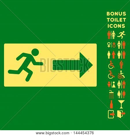Emergency Exit icon and bonus male and female restroom symbols. Vector illustration style is flat iconic bicolor symbols, orange and yellow colors, green background.