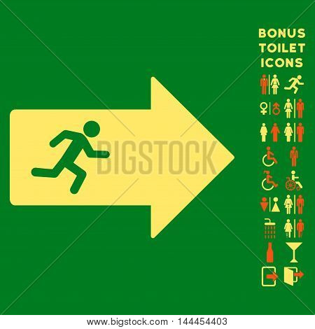 Exit Arrow icon and bonus male and woman lavatory symbols. Vector illustration style is flat iconic bicolor symbols, orange and yellow colors, green background.