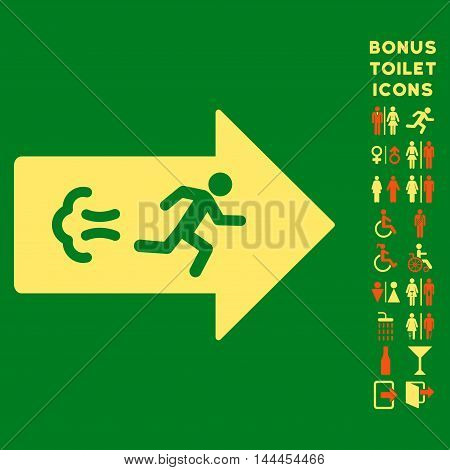 Exit Direction icon and bonus male and lady WC symbols. Vector illustration style is flat iconic bicolor symbols, orange and yellow colors, green background.