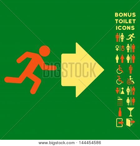 Exit Direction icon and bonus gentleman and female lavatory symbols. Vector illustration style is flat iconic bicolor symbols, orange and yellow colors, green background.