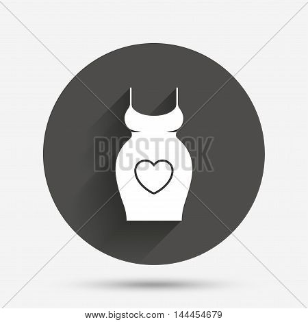 Pregnant woman dress sign icon. Maternity with heart clothing symbol Circle flat button with shadow. Vector