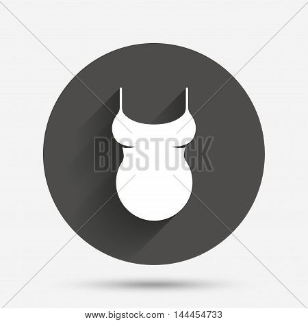 Pregnant woman shirt sign icon. Maternity symbol Circle flat button with shadow. Vector