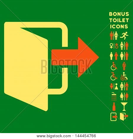 Exit Door icon and bonus gentleman and female restroom symbols. Vector illustration style is flat iconic bicolor symbols, orange and yellow colors, green background.