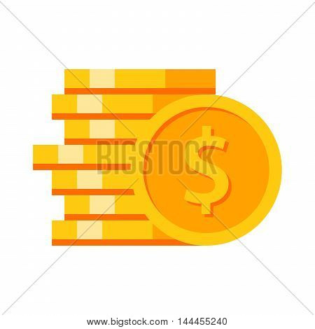 Stack of gold coins on white background.
