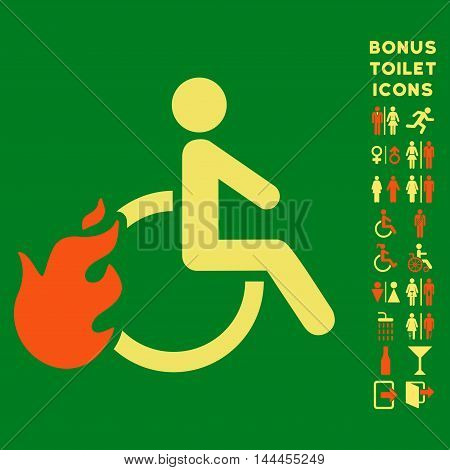 Fired Disabled Person icon and bonus gentleman and female WC symbols. Vector illustration style is flat iconic bicolor symbols, orange and yellow colors, green background.