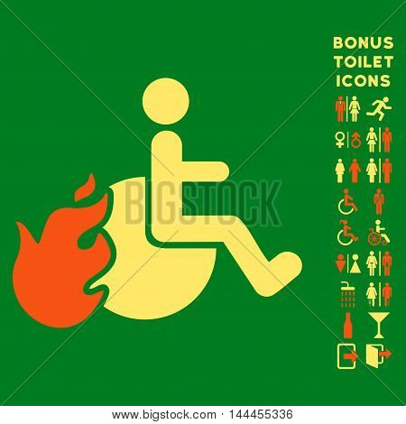 Fired Patient icon and bonus male and female restroom symbols. Vector illustration style is flat iconic bicolor symbols, orange and yellow colors, green background.