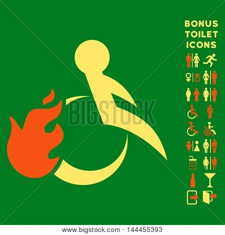 Fired Patient icon and bonus gentleman and lady lavatory symbols. Vector illustration style is flat iconic bicolor symbols, orange and yellow colors, green background.