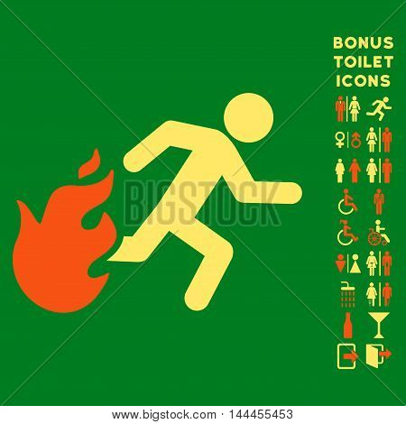 Fired Running Man icon and bonus man and lady toilet symbols. Vector illustration style is flat iconic bicolor symbols, orange and yellow colors, green background.