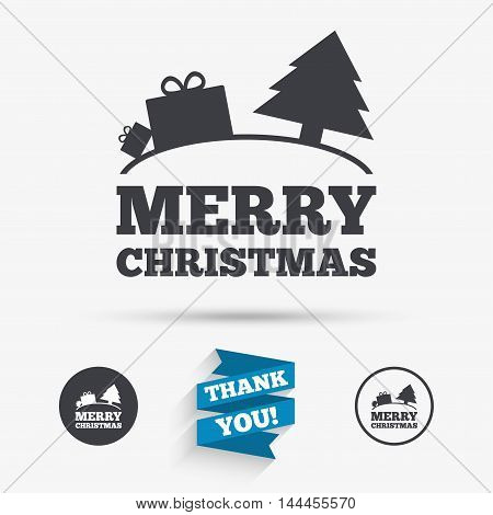 Merry christmas gift sign icon. Present and tree symbol. Flat icons. Buttons with icons. Thank you ribbon. Vector