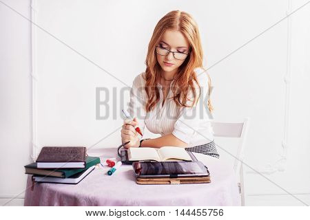young girl student for training. The concept of business or education