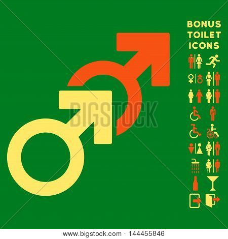 Gay Sex icon and bonus man and woman restroom symbols. Vector illustration style is flat iconic bicolor symbols, orange and yellow colors, green background.