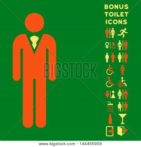 Gentleman icon and bonus gentleman and lady toilet symbols. Vector illustration style is flat iconic bicolor symbols, orange and yellow colors, green background.
