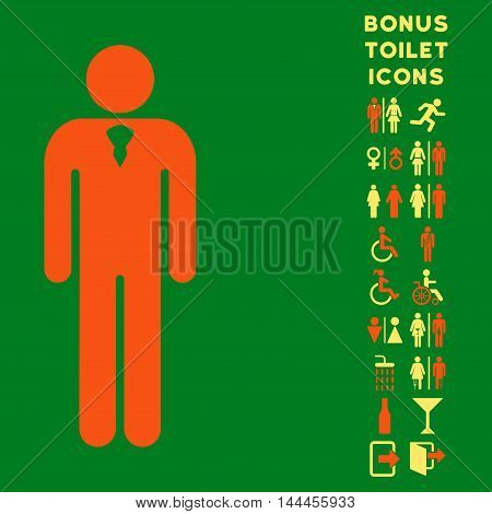 Gentleman icon and bonus gentleman and woman toilet symbols. Vector illustration style is flat iconic bicolor symbols, orange and yellow colors, green background.