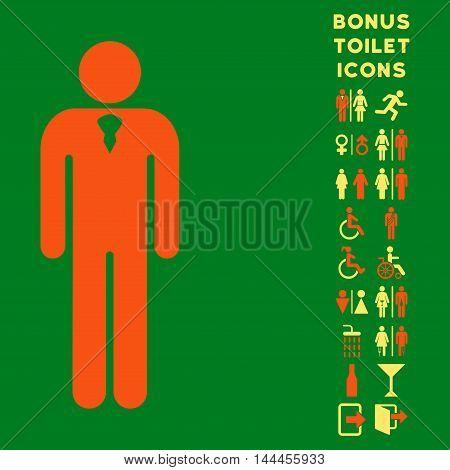 Gentleman icon and bonus gentleman and woman toilet symbols. Vector illustration style is flat iconic bicolor symbols, orange and yellow colors, green background.