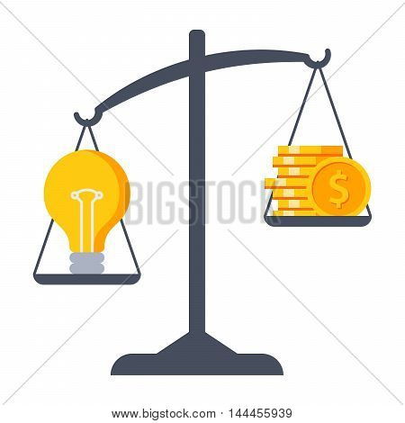 Business decisions concept with idea and money on Scales.