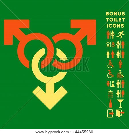 Group Gay Sex icon and bonus gentleman and woman lavatory symbols. Vector illustration style is flat iconic bicolor symbols, orange and yellow colors, green background.