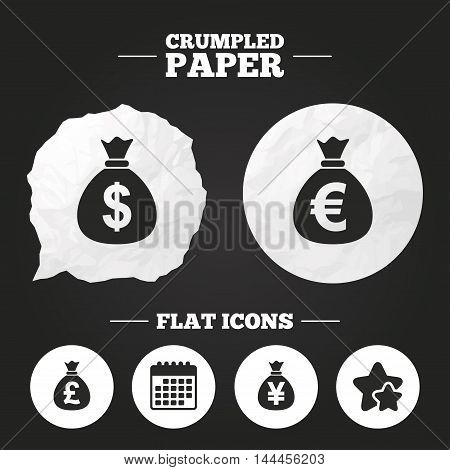 Crumpled paper speech bubble. Money bag icons. Dollar, Euro, Pound and Yen symbols. USD, EUR, GBP and JPY currency signs. Paper button. Vector