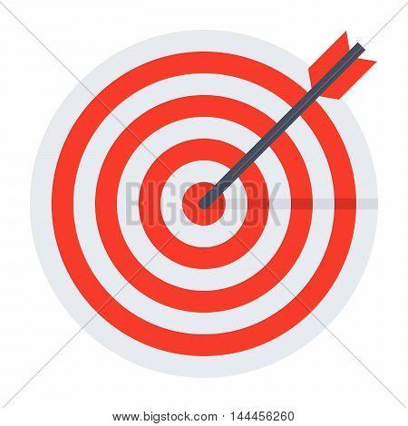 Arrow hit goal ring in red target.